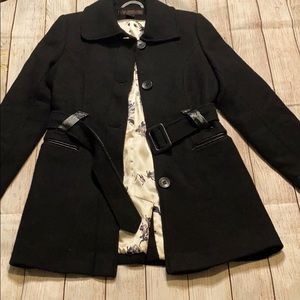 VIA SPIGA Wool Blend Pea Coat Black faux leather
